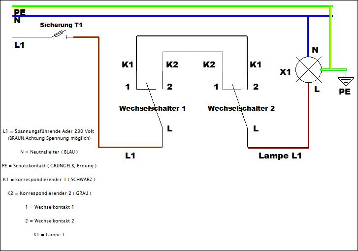 Bekannt Wechselschaltung anschließen mit Schaltplan leicht gemacht VU57